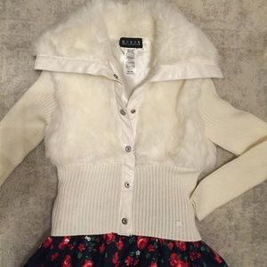 Guess Ivory faux fur sweater jacket